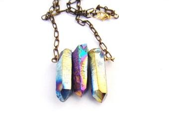 Rainbow aura titanium quartz point necklace