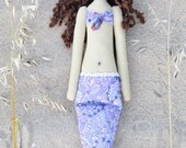 Mermaid doll handmade fabric doll lilac softie plush cloth doll art doll lovely rag doll brunette Mermaid gift for girl and mom