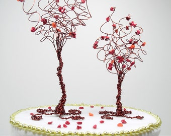 Woodland Wedding cake Topper Pair of Trees Rustic Fall Wedding Cake Topper Custom in Any Colors