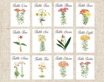 Lily Table Numbers, Assorted Spring Lily Table Tents, Easter Lily Table Cards, Spring Wedding Table Cards