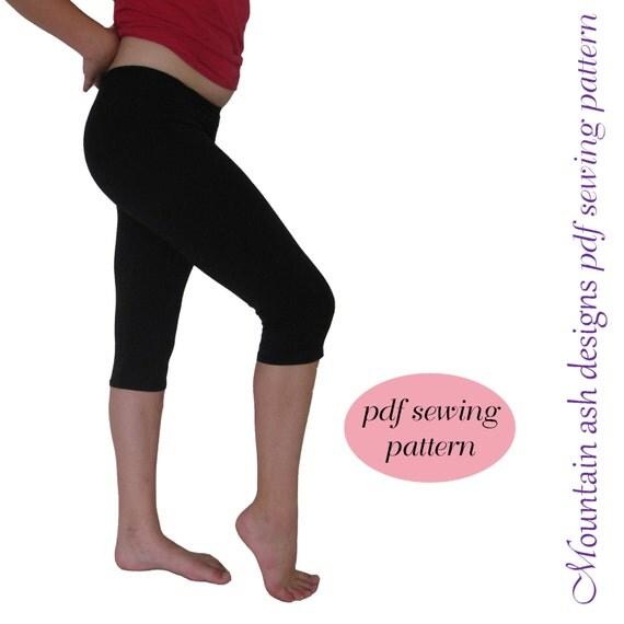 Leggings 1 pdf sewing pattern capris, ruffle leggings pdf, girls sizes 2-14