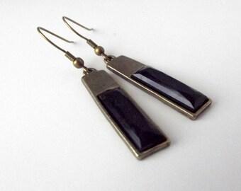 Art Deco Style Earrings, Black, Long, Antique Gold, Rectangular, Dangle