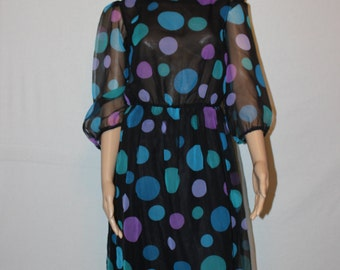 Vintage 60's B. Altman Co. Dress - Polka Dot Dress - Black Sheer Dress  - Size 10/12