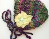 OOAK Newborn Knit Bonnet  with Removable Flower - Photography Prop - Ready to Ship