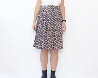 Vintage grey floral autumn pleated mid length skirt / accordion skirt