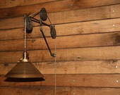 "Restaurant Lighting Bracket - 24"" Industrial 3 Jumbo Pulley Wall Bracket - Bracket and Cleat only - Light Strand not included."