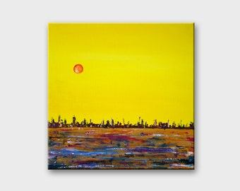 Acrylic painting Original Canvas art Modern Abstract painting Contemporary art painting Yellow painting Acrylic art Canvas painting