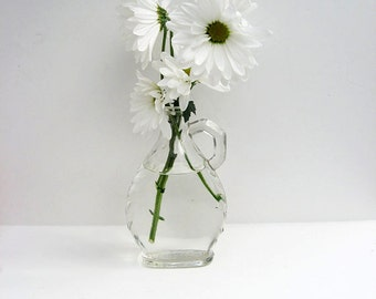 Antique Glass Jar 1930s / Vintage Glass Vase Jar Bottle / Flower Vase / Old Glass Bottle / Glass Jug / Country Kitchen