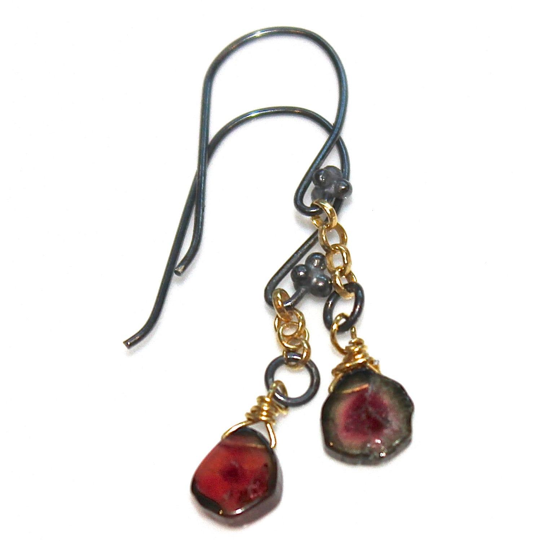 delicate earrings watermelon tourmaline slice earrings