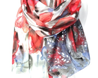 Tulips Scarf. Hand Painted Scarf. Red Blue Silk Scarf. Birthday Gift. Red Floral Woman Shawl. Bridal Wedding Gift. 18x71in MADE to ORDER