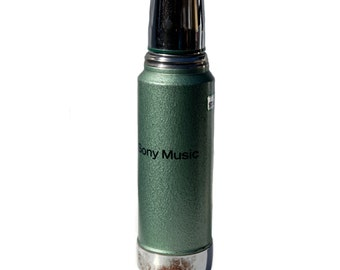 SONY MUSIC Green Metal Thermos by STANLEY School Camping Construction Tailgating Snowboarding Liquor Decanter