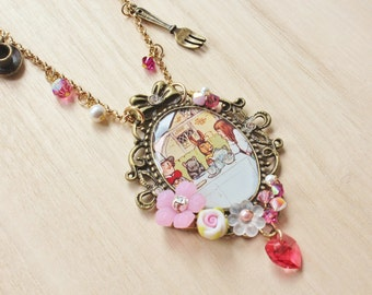 Alice's Tea Party Statement Necklace - Alice in Wonderland Inspired Jewelry - resin pendant, pink clay rose, brass teapot & teacup