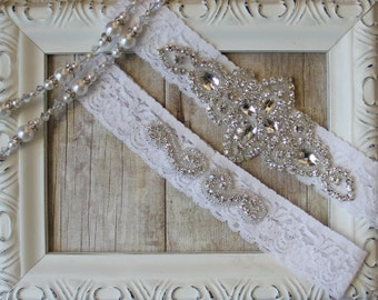 Garter Set, Wedding Garter Set, Bridal Garter Set, Vintage Wedding, Lace Garter, Crystal Garter Set - Style 001 A