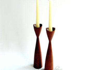 "Mid century modern teak candle holders candlesticks pair set ""Dansk"" style home mod retro table decor Scandinavian design Denmark c 1960"