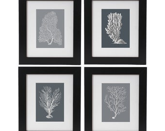 Sea Corals Print Set of 4, Coral Posters, Beach House Decor, Nautical Art Wall Hangings, Monochrome Art, Coastal Living, Beach Art