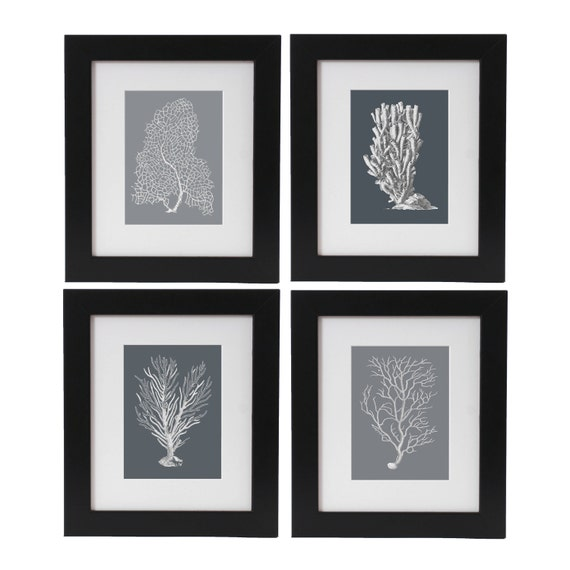 Sea Coral Art Prints Set of 4 in Shades of Gray, Coral Posters, Beach House Decor, Nautical Art Wall Hangings, Monochrome Art, Marine Art