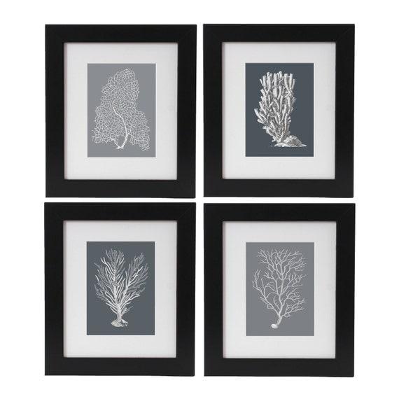 Sea Corals Print Set of 4, Coral Posters, Beach House Decor, Nautical Art Wall Hangings, Monochrome Art, Coastal Living, Beach Art