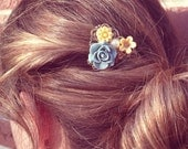Floral Hair Comb - Blue, yellow, pearl, flowers - Filigree air Comb