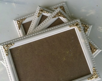 Ornate Picture Frame, 5 x 7  Baroque, White & Gold, Vintage Chic ,Shabby Chic, Distressed Frame,Nursery Frame, Wedding Frame,  (Los Angeles)