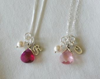 Set of 6 Personalized Bridesmaid Necklace Wedding Jewelry Initial Bridesmaid Swarovski Crystal Necklace - Bridesmaid Jewelry