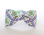 Bow Tie for Men by BartekDesign: pre tied geometric white green blue groom wedding classic retro necktie chic handmade gift