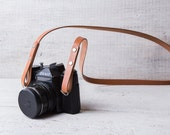 Camera strap Personalized leather camera strap Tan color vegetable tanned leather Omd em5 Nikon fx, X-E1