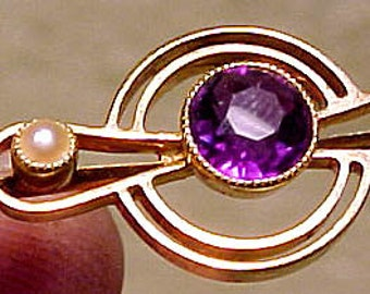 15K Amethyst Pearls Propeller Style Brooch 1915 1920 15 K Pin 15ct