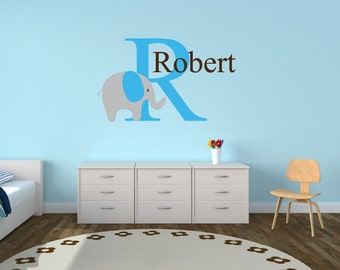 Personalized Name Decal With Elephant Nursery Decor - Kids Room Teen Name Vinyl Wall Decal Elephant Decal