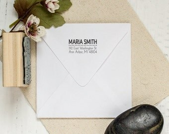 Return Address Stamp, Custom Stamp, Personalized Stamp. Housewarming, Wedding, DIYer Gift. Custom Rubber Stamp 2x1 Inch