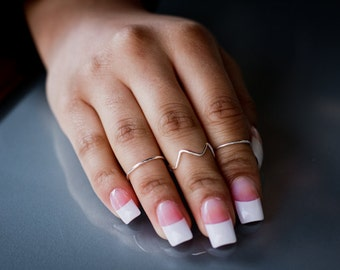 Zig Zag Knuckle Ring + 2 Plain Midi Rings - Handmade. Tarnish Resistant. Hypoallergenic. Adjustable. In Gold, Silver, Copper / Rose Gold