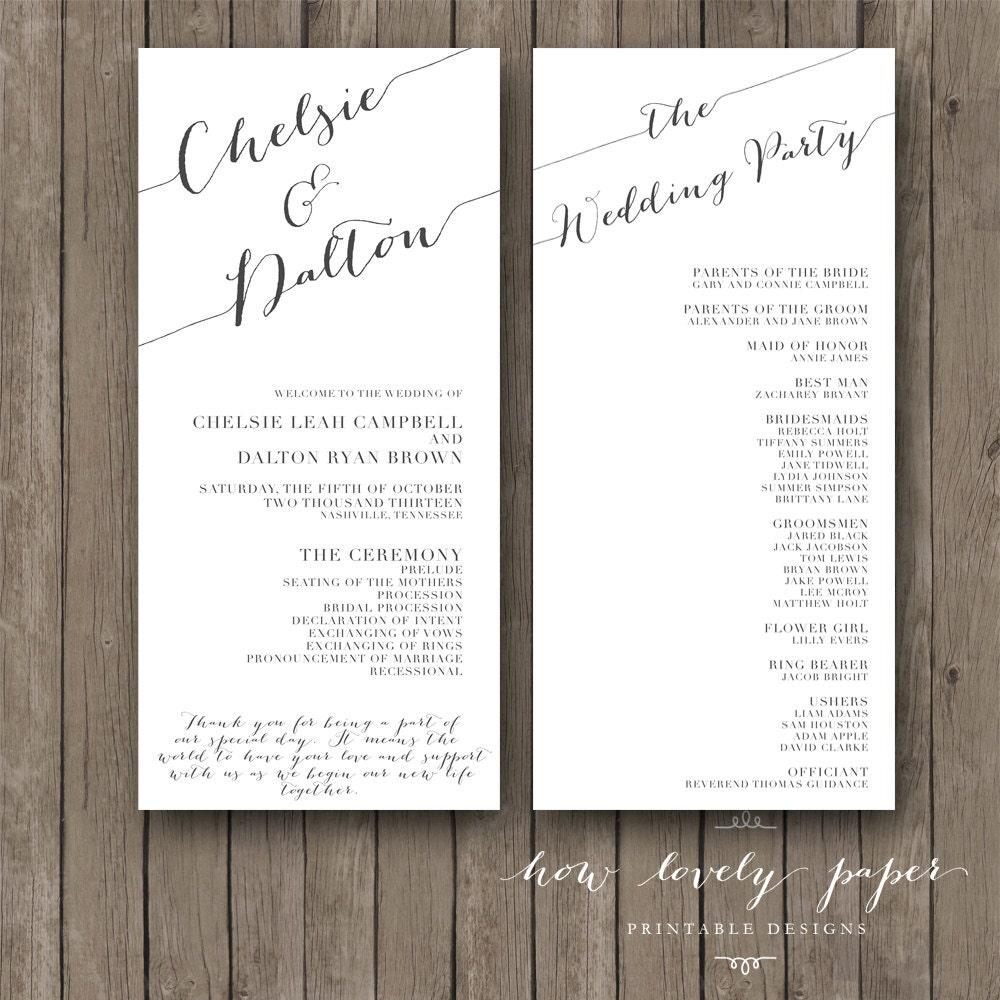 Printable Wedding Program The Chloe Collection