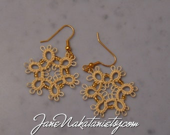 tatting lace earrings snowflake -Ecru-