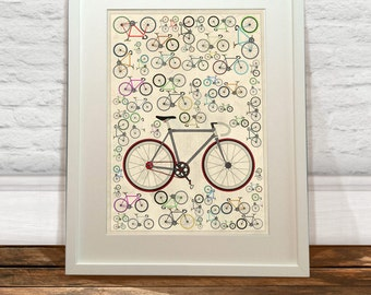 Lots of Fixie Bikes Art Print