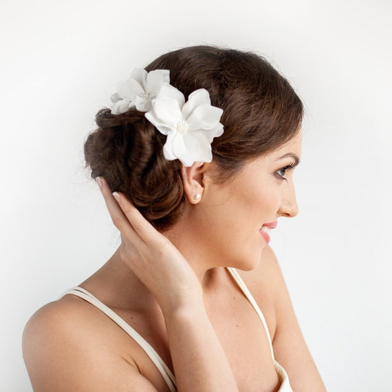 Ivory Flower Hair Clip Wedding: Wedding Hair Piece Ivory Magnolia Hair Flower Clip By