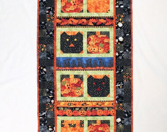 Halloween Quilted Wall Hanging, TableTopper, Pumpkins and Cats in Black and Orange, Halloween Quilted Decor, Teacher Gift, Wedding Gift