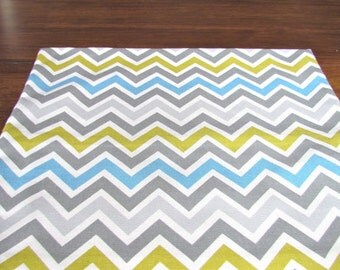 GRAY BLUE YELLOW Table Runner 12 x 48 Gray Blue Yellow Chevron Table Runners Silver Decorative Grey Holiday Table Runner Cloth 60 72 84 96