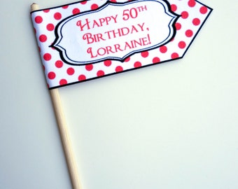 Vintage Birthday Cupcake Flags / Toppers - custom color and text!