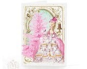 Marie Antoinette, pink Christmas holiday card, pink Christmas tree, pink holiday card, pink Christmas, blank card