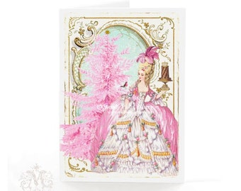 Marie Antoinette Christmas holiday card in pink for girls, with Christmas tree, robin and pudding