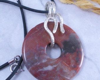 Handmade 925 Sterling Silver Snake Bail on Red Jasper Donut Pendant Necklace