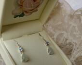SALE Vintage Aquamarine Gemstone Natural Jade Earrings,Dangle Drop Earrings,Aquamarine Earrings,Pastel Green Jade Earrings,Fashion Jewelry