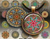 MOROCCAN ORNATE CIRCLES - 30 mm Printable digital images for round pendants, bezel trays, glass cabochon mountings, cameo settings, Art Cult