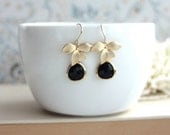 Black Flower Earrings, Gold Orchid Flowers Black Goth Earrings  Orchid Dangle Earring Winter Wedding Earring Bridesmaid Earring Gift for Her