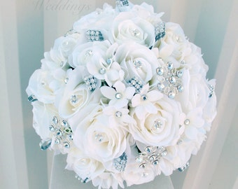 White rose Wedding Bouquet - Rhinestone broach bouquet - Silk bridal flowers
