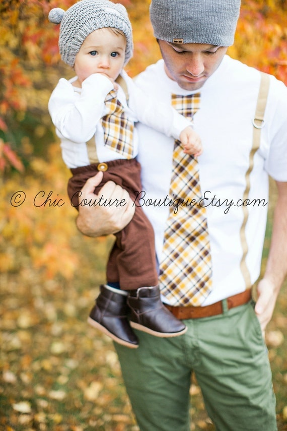 Easter Spring and Valentine's Tie and Suspenders Dad & Baby Boy Set. Father Son Plaid Mustard Citrine Brown Baby's 1st Birthday, Coming Home