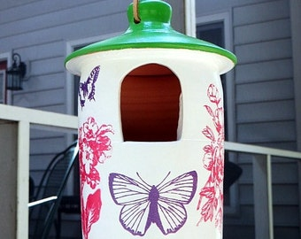Outdoor Ceramic Bird Feeder, Flowers and Butterflies