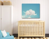 Elephant Nursery Art, Elephant Cloud, Elephant Wall Art, Dumbo Art, Blue & White Nursery Decor 30x40 Large Canvas Wrap, Baby Boy Nursery Art