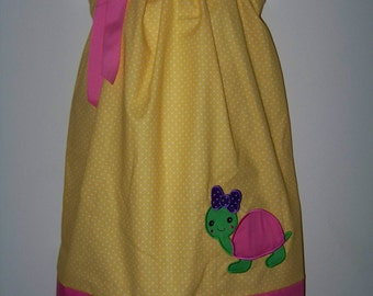 Turtle Pillowcase Dress / Yellow / Pink / Purple / Girly / Birthday / Newborn / Infant / Baby / Girl / Toddler / Custom Boutique Clothing