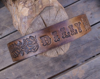 Leather Dog Collar Personalized  (  Western Dog Collar  ~ Tooled Leather Dog Collar ~ 1950s name on belt Dog Collar )