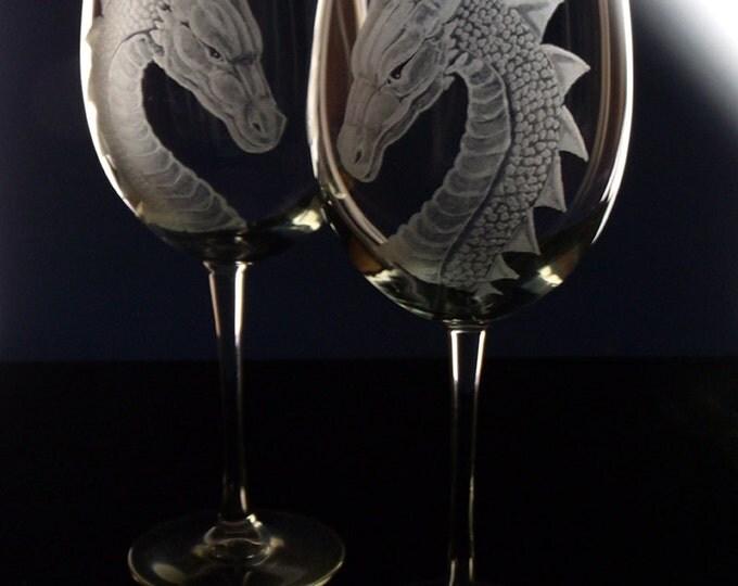 Wedding Wine Glass   Dragon - Gift Set   Renaissance Wedding   Medieval Fantasy Engraved Glassware